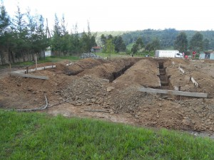 Backstage footings from east
